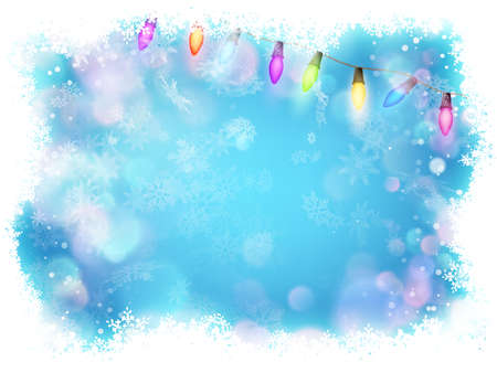 Background for Christmas and New Year. Bright, festive blue background with blur, garland and snowflakes.