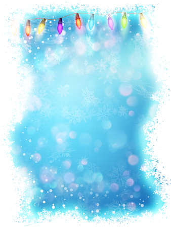 Blue background with frame of snowflakes. Illustration