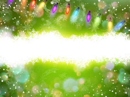 Green magic light horizontal background.