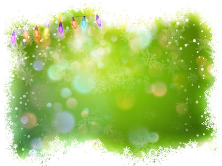 Green christmas background with frame of snowflakes.