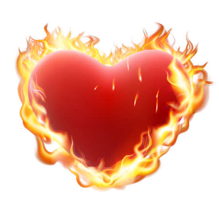 red love heart with flames: Burning heart on white. Heart in flame isolated on white background.