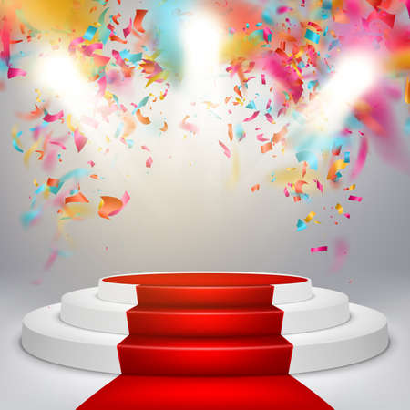 second floor: White winners podium with red carpet and confetti. Stage for awards ceremony. Pedestal. Spotlight. Illustration