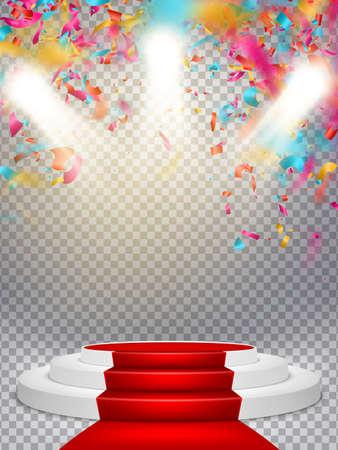 Witte winnaar podium met rood tapijt en confetti. Stage voor prijsuitreiking. Voetstuk. Spotlight.