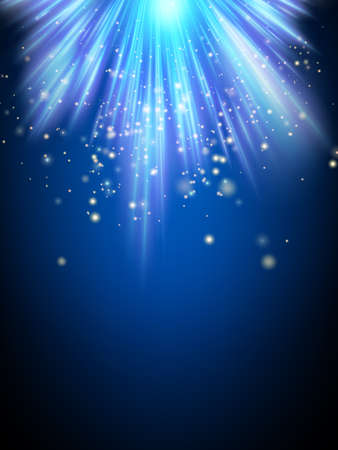 magical: Abstract magic light background. Blue holiday burst. Illustration
