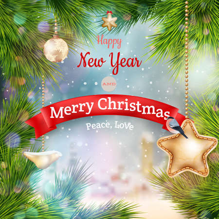 ilex: Christmas landscape Poster. EPS 10 vector file included