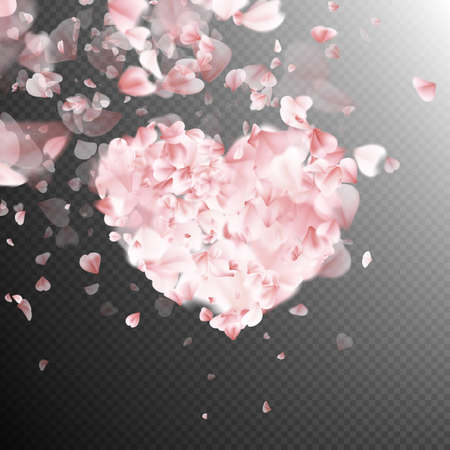 flower heart: Romantic Heart with falling flower petals blossom. EPS 10 vector file included Illustration