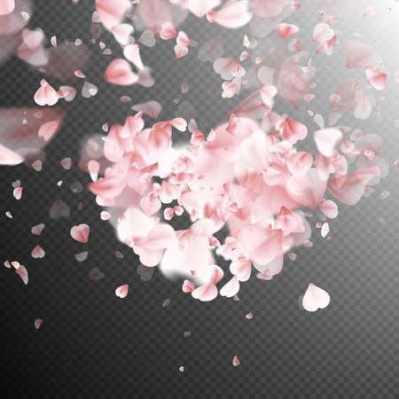 Rosa Blütenblätter fallen auf transparentem Hintergrund für St. Valentinstag-Grußkartenentwurf. Blütenblatt in Form von Herzen. EPS 10 Vektor-Datei enthalten