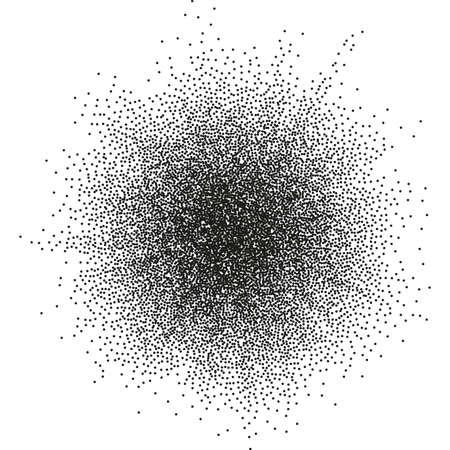 banger: Abstract 3d design element, emblem. Different dots on black background. EPS 10 vector file included Illustration