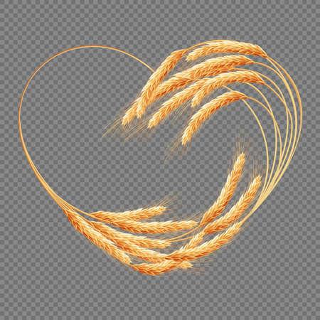 Oídos de trigo Corazón aislado en el fondo transparente. EPS 10 archivo vectorial incluido