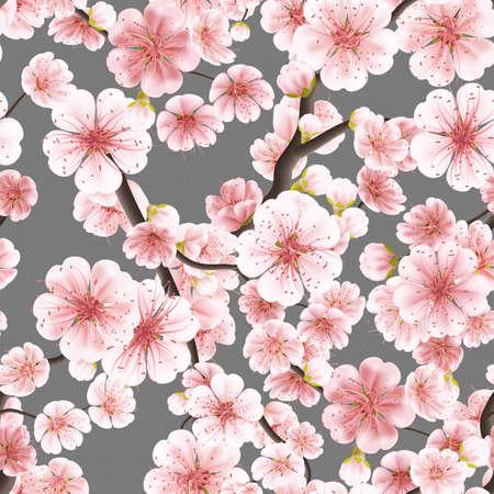 flor de sakura: rosado inconsútil de Sakura florecimiento cerezo. 10 EPS