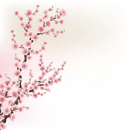 Blooming Cherry Blossom Branches card. EPS 10 Stock Illustratie