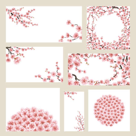 Greeting cards set with sakura. EPS 10 Illustration