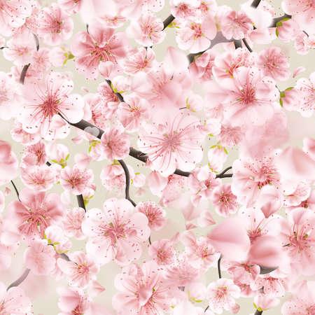Seamless pink Sakura flowering cherry.