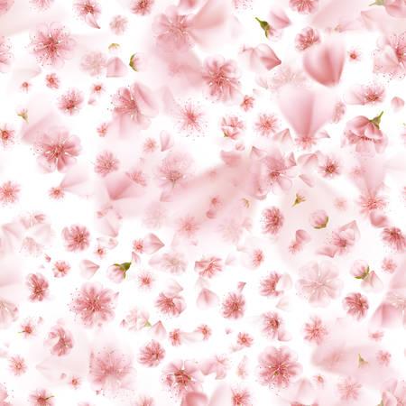 Seamless Sakura flowers isolated on white. EPS 10