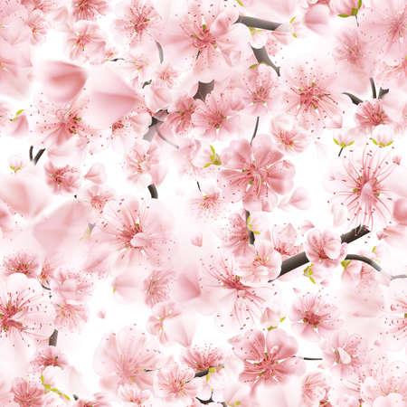 cerezos en flor: rosado inconsútil de Sakura florecimiento cerezo. 10 EPS