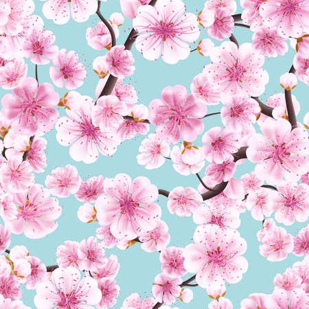 blooms: Seamless pink Sakura flowering cherry. EPS 10