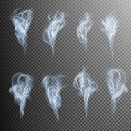Isolated realistic cigarette smoke waves. EPS 10