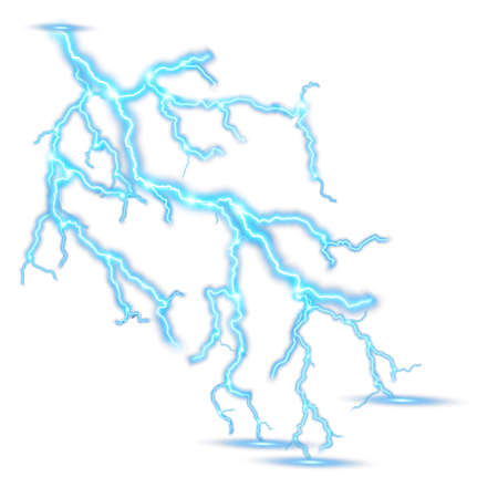 천둥 폭풍 현실적인 번개. EPS 10