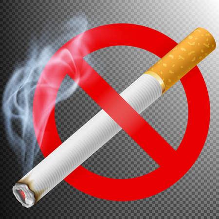 smoldering: No smoking area label. Illustration