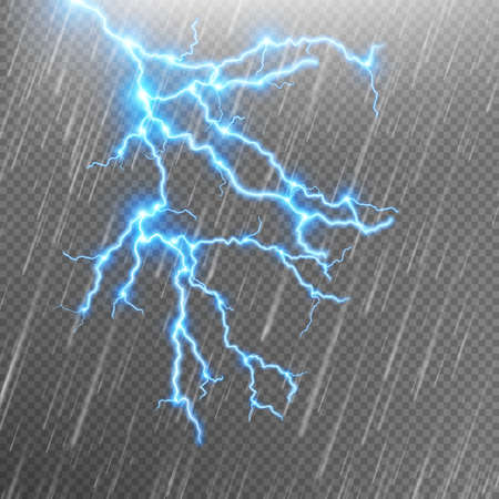 Blue Lightning and rain.