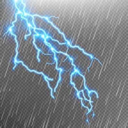 Lightning strike. Rain template with flash.