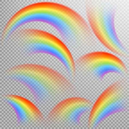 Rainbows in different shape realistic set. Ilustracja