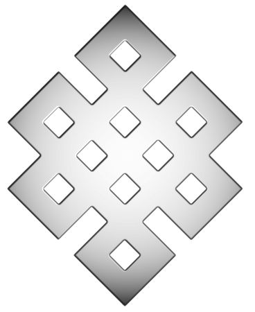 endless: Silver Mystic Knot Symbol Stock Photo