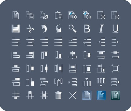 spacing: a set of 53  icons suitable for applications, business-oriented products, text type, distribution and align of objects, with 3 background option, toolbar, the symbols are easily recognizable, making the user interface intuitive and easy to learn