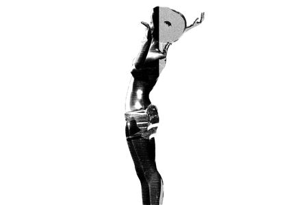 Sketch grayscale  of a woman modeling in a looking up position, describing astonishment and amazement. The lights reflect on her body and clothes. photo