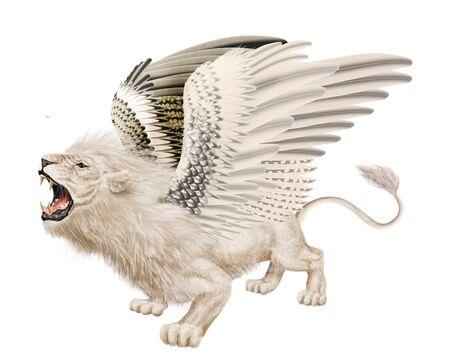 Lion wings illustration realistic design