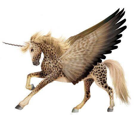 Horse unicorn illustration realistic design Reklamní fotografie