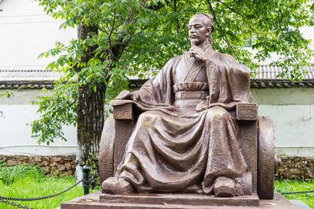 SHUHE, YUNNAN, CHINA - SEP 6 2014: Statues of Sun Bin. Sun Bin was famous strategist. Editorial