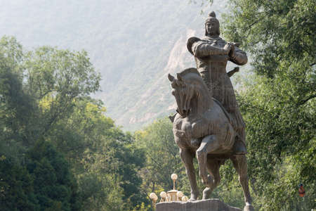 was: LANZHOU, CHINA - SEP 29 2014: Statue of Huo Qubing, Lanzhou, Gansu, China. was a distinguished military tactician of the Western Han dynasty.