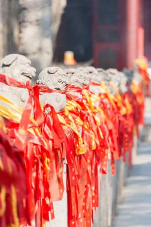 LUOYANG, CHINA - NOV 14 2014: Statues at Guanlin Temple. a famous Historic Site in Luoyang, Henan, China.