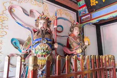 xing: SHAANXI, CHINA - OCT 21 2014: Statues of Wang Ping,Guan Xing at Wuzhangyuan Zhuge Liang Temple. a famous Historic Site in Baoji, Shaanxi, China.