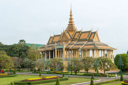 Phnom Penh, Cambodia - Jan 30 2015: Royal Palace. a famous Historical site in Phnom Penh, Cambodia. Stock Photo