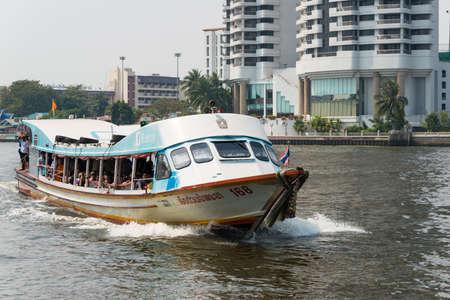 Bangkok, Thailand. - Feb 10 2015: Chao Phraya Express Boat. a famous transportation service in Bangkok, Thailand operating on the Chao Phraya River. Editorial