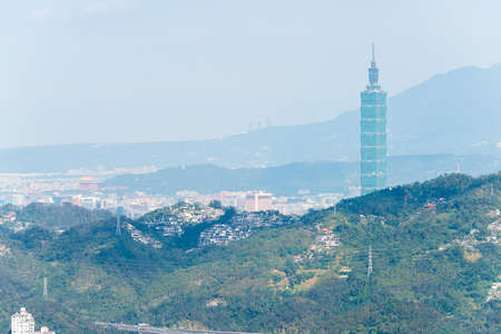 formosa: TAIPEI, TAIWAN - Jan 26 2016: Taipei City View from Maokong Gondola. a famous landscape in Maokong, Taipei, Taiwan.