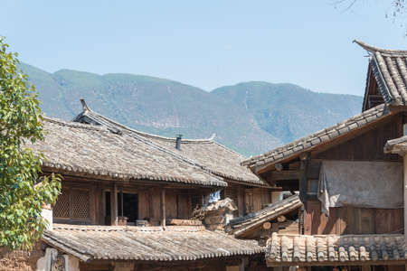 YUNNAN, CHINA - MAR 20 2015: Roof at Shaxi Ancient village. a famous Ancient village of Jianchuan, Yunnan, China.