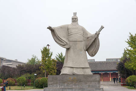 HENAN, CHINA - Oct 26 2015: Statue of Cao Cao(155-220) at Weiwudi Square. a famous historic site in Xuchang, Henan, China. Editorial