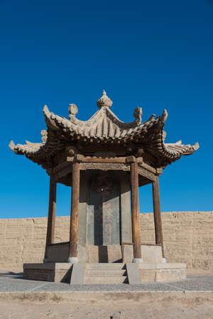 JIAYUGUAN, CHINA - Apr 13 2015: Monument of Jiayuguan Pass, west end of Great Wall. a famous Historical site(UNESCO World Heritage Site) in Jiayuguan, Gansu, China.