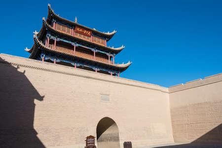 JIAYUGUAN, CHINA - Apr 13 2015: Jiayuguan Pass, west end of Great Wall. a famous Historical site(UNESCO World Heritage Site) in Jiayuguan, Gansu, China.