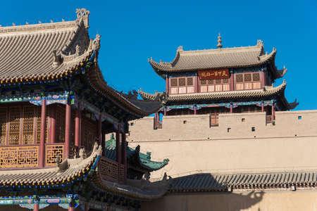 jiayuguan pass tower: JIAYUGUAN, CHINA - Apr 13 2015: Jiayuguan Pass, west end of Great Wall. a famous Historical site(UNESCO World Heritage Site) in Jiayuguan, Gansu, China.