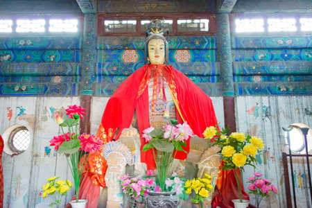 tourist site: SHANXI, CHINA - Sept 15 2015: Statue at Niangzi Pass(Niangziguan). was famed as the Ninth Pass on the Great wall in Pingding, Yangquan, Shanxi, China.