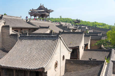 city and county building: SHANXI, CHINA -  Sept 05 2015: Wang Family Courtyard. a famous historic site in Lingshi, Jinzhong, Shanxi, China. Editorial