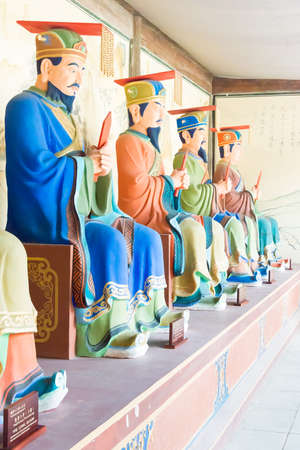 confucian: SICHUAN, CHINA - Mar 28 2015: Statues at Confucius temple of Zhaohua Ancient Town. a famous historic site in Guangyuan, Sichuan, China. Editorial