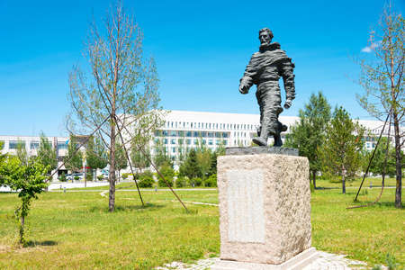 huh: INNER MONGOLIA, CHINA - Aug 10 2015: Marco Polo Statue at Kublai Square in Zhenglan Banner, Xilin Gol, Inner Mongolia, China. Editorial