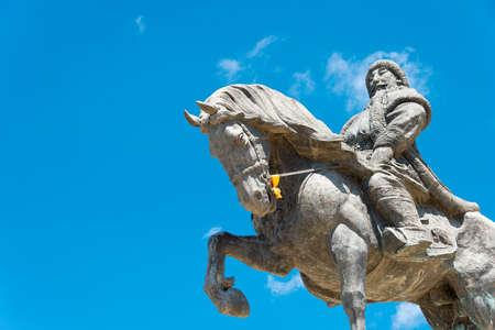 huh: INNER MONGOLIA, CHINA - Aug 10 2015: Kublai Khan Statue at Kublai Square in Zhenglan Banner, Xilin Gol, Inner Mongolia, China.