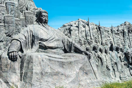 huh: INNER MONGOLIA, CHINA - Aug 10 2015: Kublai Khan Statue at Site of Xanadu (World Heritage site). a famous historic site in Zhenglan Banner, Xilin Gol, Inner Mongolia, China. Editorial
