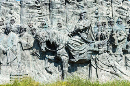 huh: INNER MONGOLIA, CHINA - Aug 10 2015: Relief at Site of Xanadu (World Heritage site). a famous historic site in Zhenglan Banner, Xilin Gol, Inner Mongolia, China. Editorial